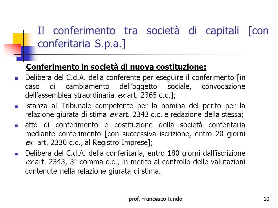 Il conferimento tra società di capitali [con conferitaria S.p.a.]